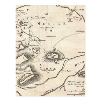 Vintage Map of Athens Greece (1784) Postcard