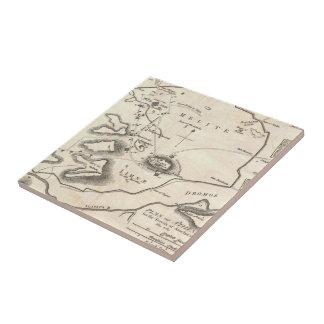 Vintage Map of Athens Greece (1784) Ceramic Tile