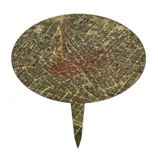 Vintage Map of Atlanta (1892) Cake Toppers