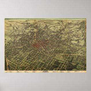 Vintage Map of Atlanta (1892) Poster at Zazzle