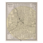 Vintage Map of Atlanta Georgia (1901) Poster