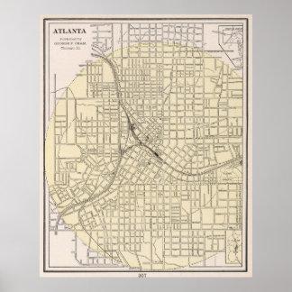 Vintage Map of Atlanta Georgia (1901) Poster