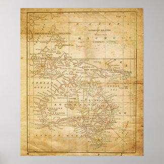 Vintage Map of Australasia archival print