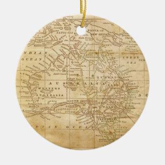 Vintage Map of Australasia Ceramic Ornament
