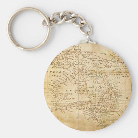 Vintage Map of Australasia Keychain