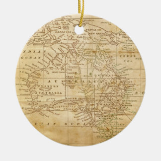 Vintage Map of Australasia Christmas Ornaments