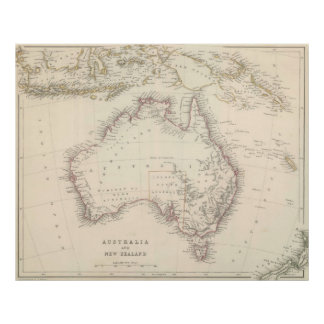 Vintage Map of Australia 1848 Posters