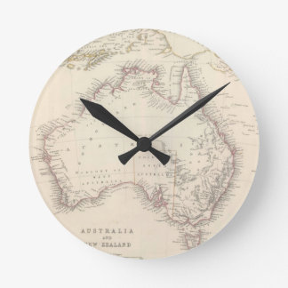 Vintage Map of Australia (1848) Round Clock