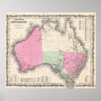 Vintage Map of Australia (1862) Poster