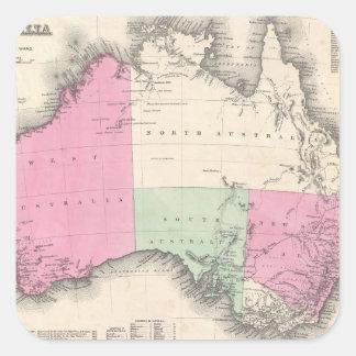 Vintage Map of Australia (1862) Square Sticker