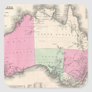 Vintage Map of Australia 1862 Square Sticker