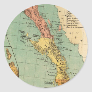 Vintage Map of Baja California (1899) Classic Round Sticker