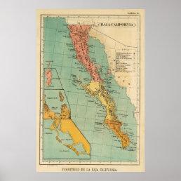 Vintage Map of Baja California (1899) Poster
