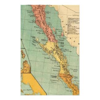 Vintage Map of Baja California (1899) Stationery