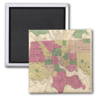 Vintage Map of Baltimore (1873) 2 Inch Square Magnet