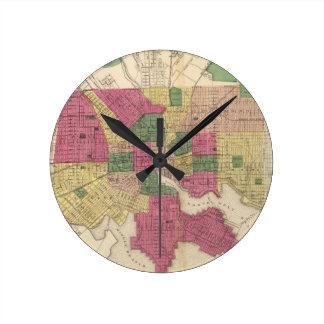 Vintage Map of Baltimore (1873) Round Clock