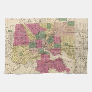 Vintage Map of Baltimore (1873) Towel