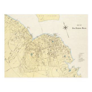 Vintage Map of Bar Harbor Maine (1897) Post Card