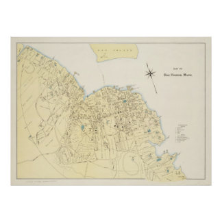 Vintage Map of Bar Harbor Maine (1897) Poster
