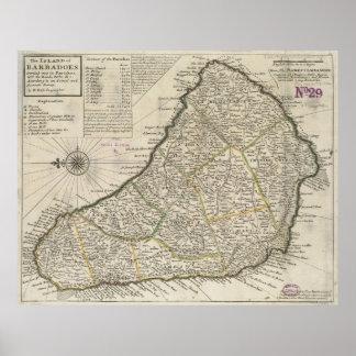 Vintage Map of Barbados (1736) Poster