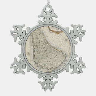 Vintage Map of Barbados (1758) Snowflake Pewter Christmas Ornament