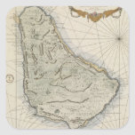 Vintage Map of Barbados (1758) Square Sticker