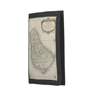 Vintage Map of Barbados (1758) Tri-fold Wallets