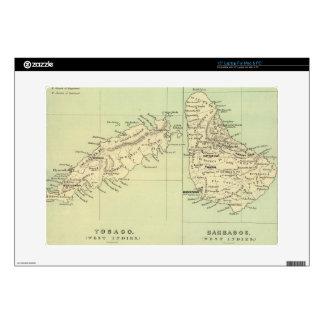 """Vintage Map of Barbados and Tobago (1853) 15"""" Laptop Skins"""
