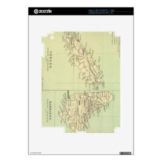 Vintage Map of Barbados and Tobago (1853) Decal For The iPad 2