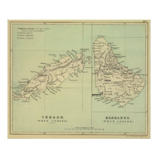 Vintage Map of Barbados and Tobago (1853) Poster