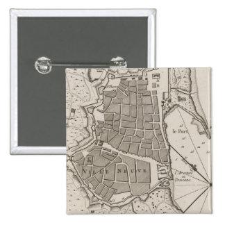 Vintage Map of Barcelona Spain (1764) Pinback Button