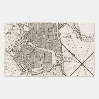 Vintage Map of Barcelona Spain (1764) Rectangular Sticker