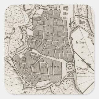 Vintage Map of Barcelona Spain (1764) Square Sticker