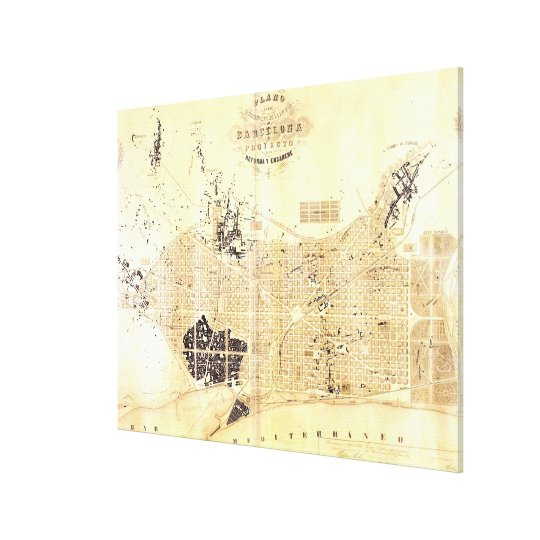 Barcelona In Spain Map.Vintage Map Of Barcelona Spain 1859 Canvas Print Zazzle Com