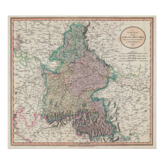 Vintage Map of Bavaria Germany (1799) Print