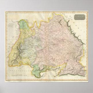 Vintage Map of Bavaria Germany 1814 Print