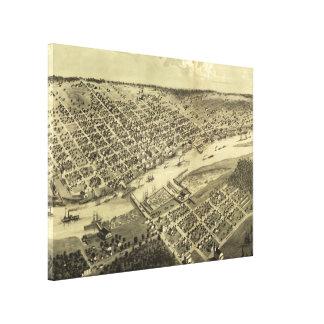Vintage Map of Bay City Michigan (1867) Canvas Print