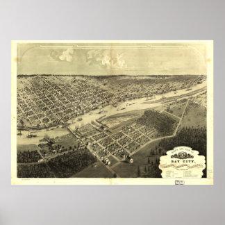 Vintage Map of Bay City Michigan (1867) Poster