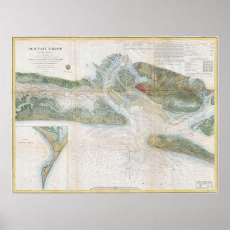 Vintage Map of Beaufort Harbor SC (1857) Poster