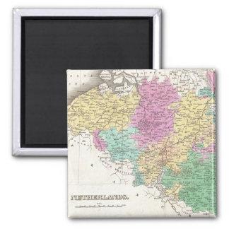 Vintage Map of Belgium (1827) 2 Inch Square Magnet