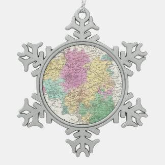 Vintage Map of Belgium (1827) Snowflake Pewter Christmas Ornament