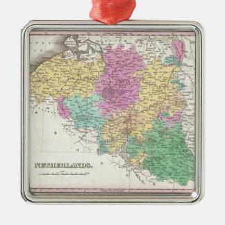 Vintage Map of Belgium (1827) Square Metal Christmas Ornament