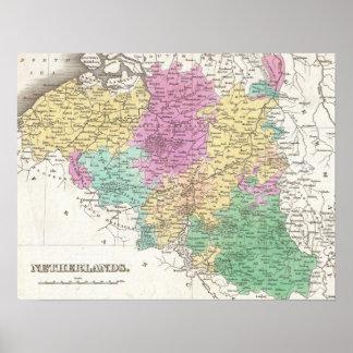 Vintage Map of Belgium (1827) Poster