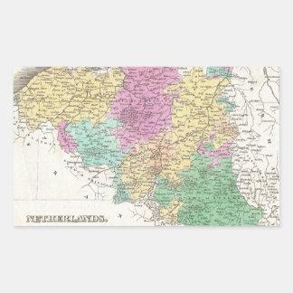 Vintage Map of Belgium (1827) Rectangular Sticker