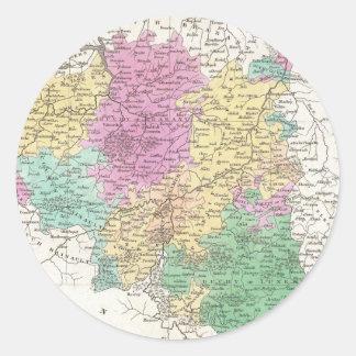 Vintage Map of Belgium (1827) Classic Round Sticker
