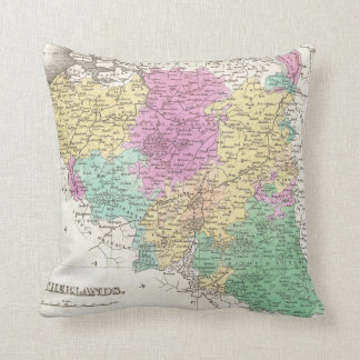 Vintage Map of Belgium (1827) Throw Pillows