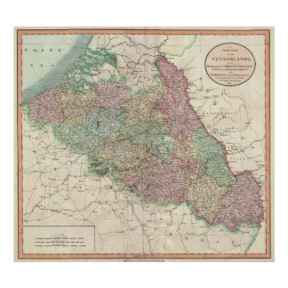 Vintage Map of Belgium & Luxembourg (1804) Poster