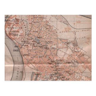 Vintage Map of Belgrade Serbia (1905) Postcard
