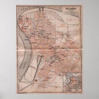 Vintage Map of Belgrade Serbia (1905) Print