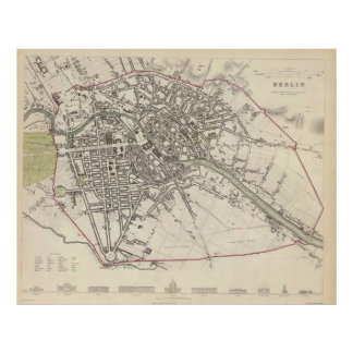 Vintage Map of Berlin (1833) Poster